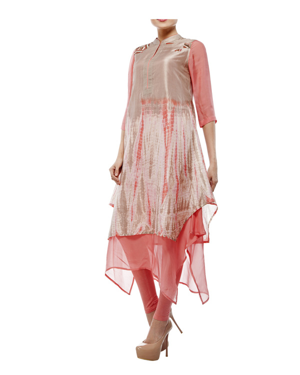 Shibori dyed tunic with  chiffon layer, comes with a legging 1