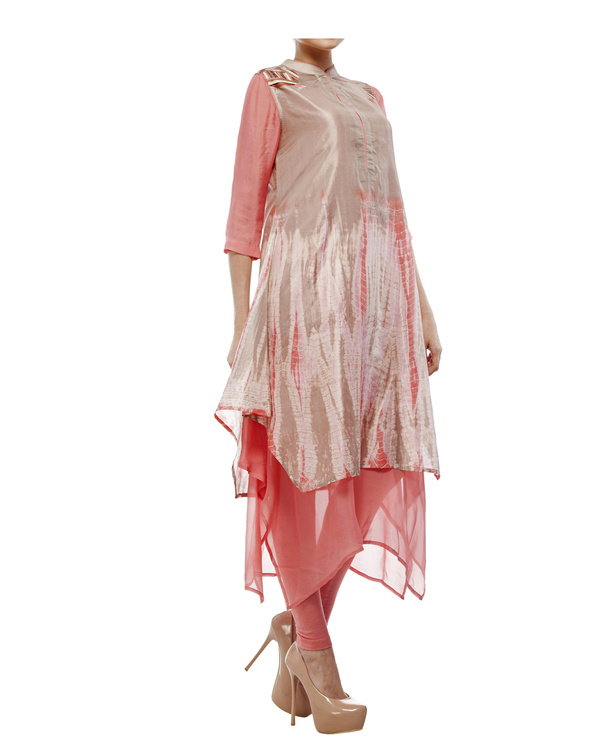 Shibori dyed tunic with  chiffon layer, comes with a legging 2