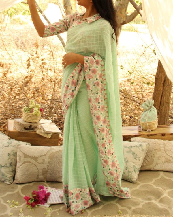 Floral Mint Sari 1