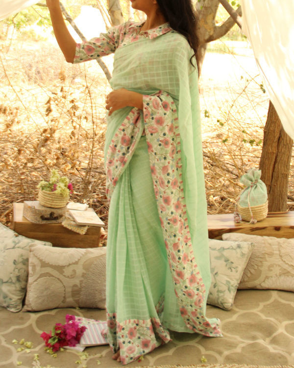 Floral Mint Sari 2