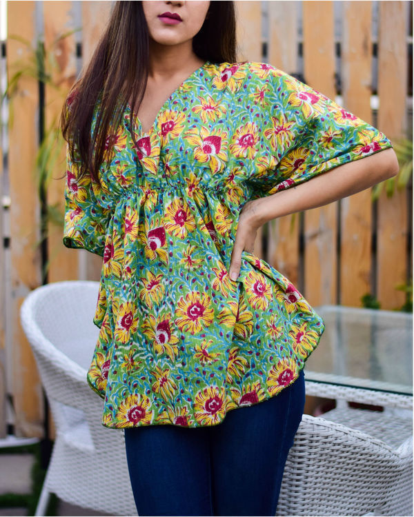 Green Butterfly Kaftan Top 1