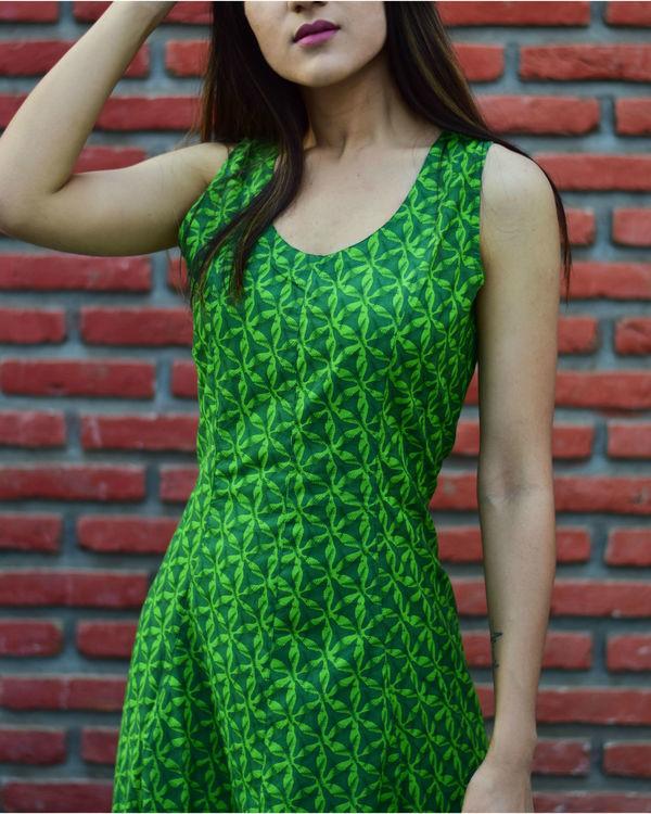 Green Geometric Print Dress 1