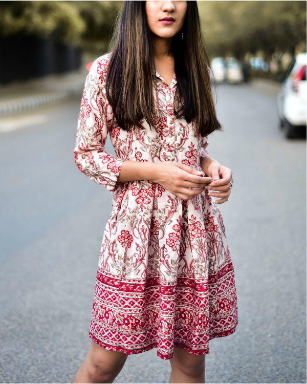 Rayon Red Floral Shirt Dress 1