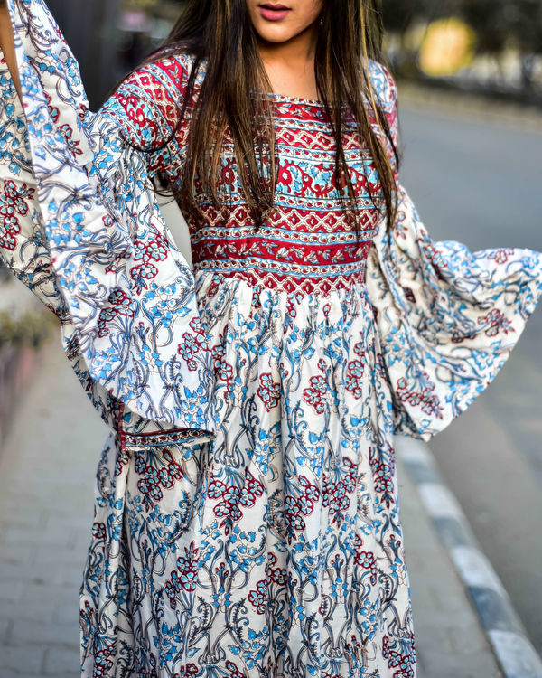 Boho Bell Sleeves Rayon Dress 1