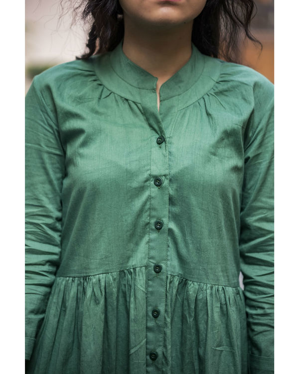 Olive Buttoned Summer Dress 1