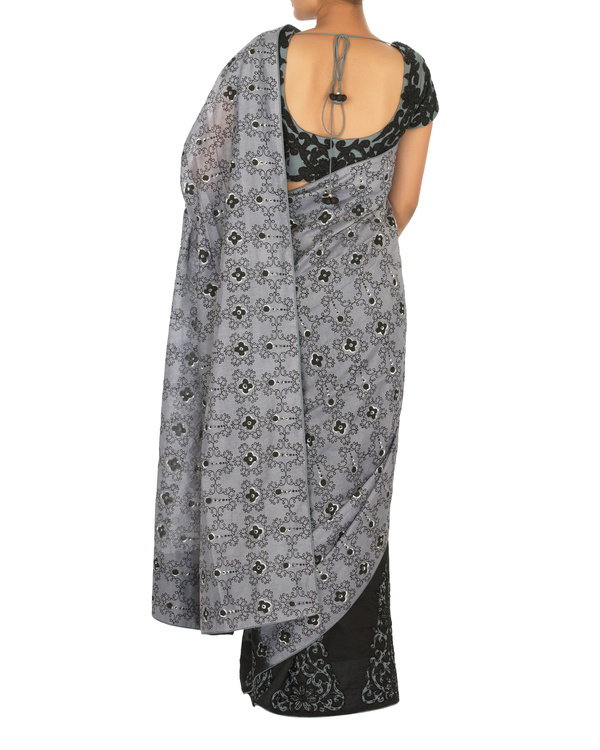 Black and grey chanderi sari with embellished blouse 3
