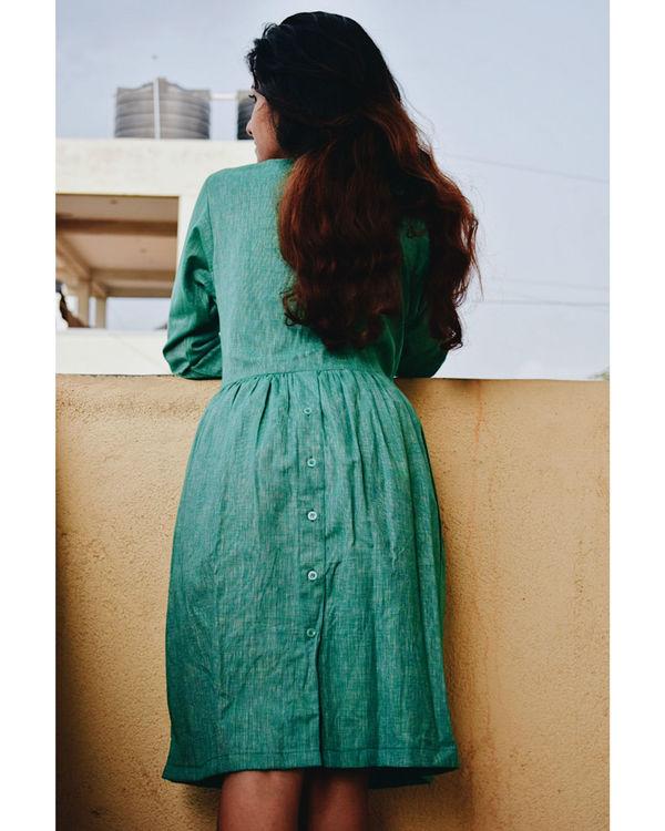 Textured Deep Green Cotton Dress 2