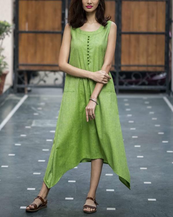 Pale Green Textured Asymmetric Dress 3