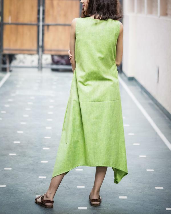 Pale Green Textured Asymmetric Dress 1