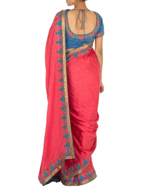 Red and blue satin sari with embroidered blouse 3