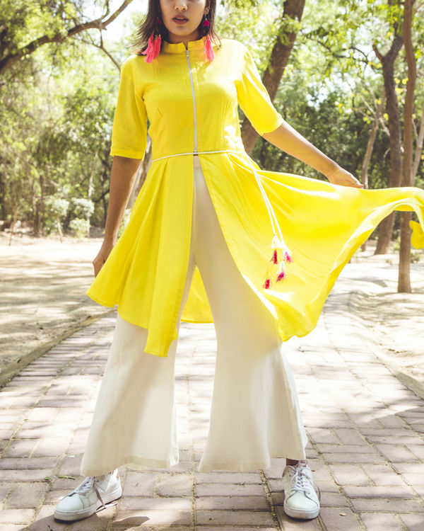 Lemon yellow asymmetric kurta set 1