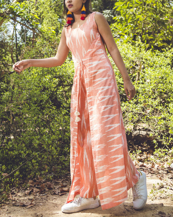 Summer peach ikat jumpsuit 1