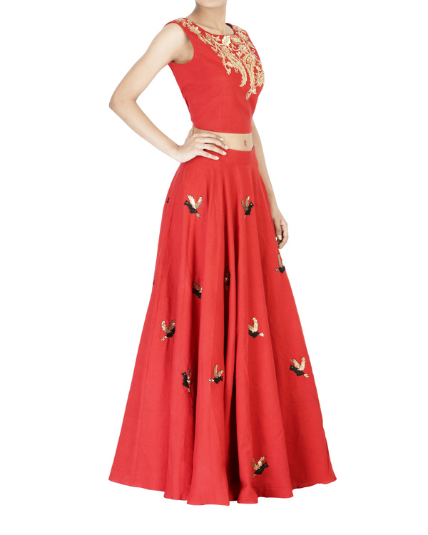 Red embroidered ball gown skirt 2