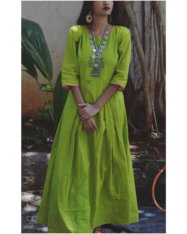 Green checkered anarkali dupatta set 1