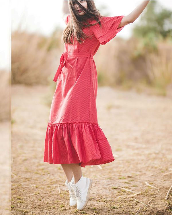 Red frilled tulip dress 2