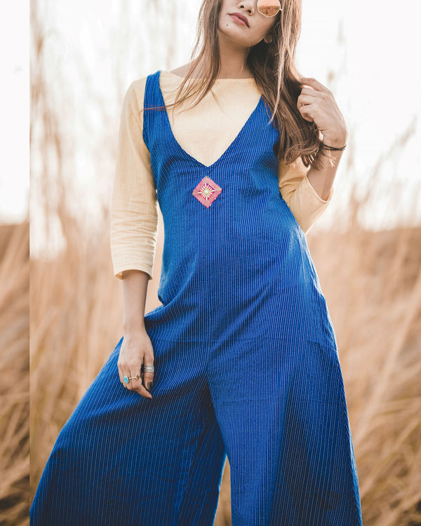Blue striped jumpsuit 2