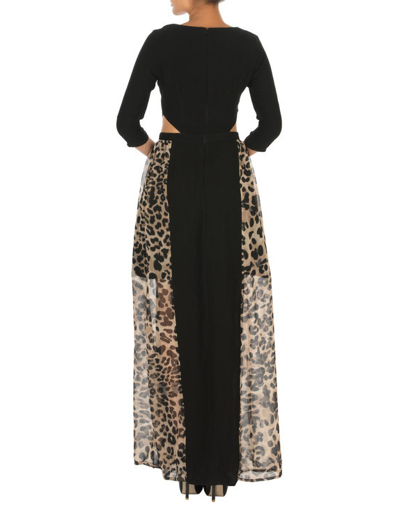 Haley cut out maxi black with animal print 1