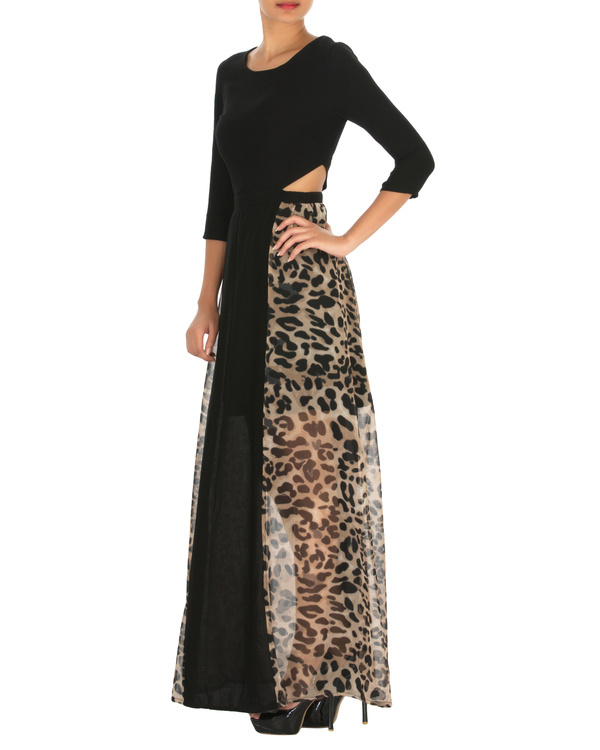 Haley cut out maxi black with animal print 2