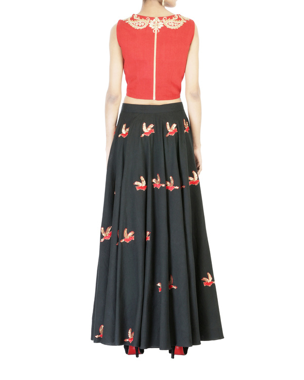Charcoal black embroidered ball gown skirt 1