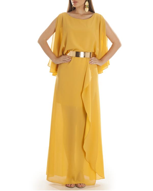 Mustard Grace draped dress 2