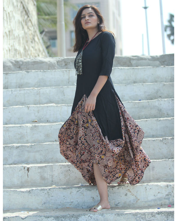 Black kalamkari dhoti dress 1