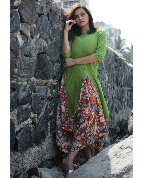 Green kalamkari dhoti dress 1