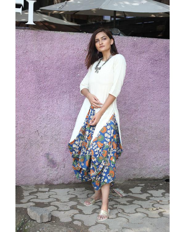 White Kalamkari Dhoti Cowl Dress 1