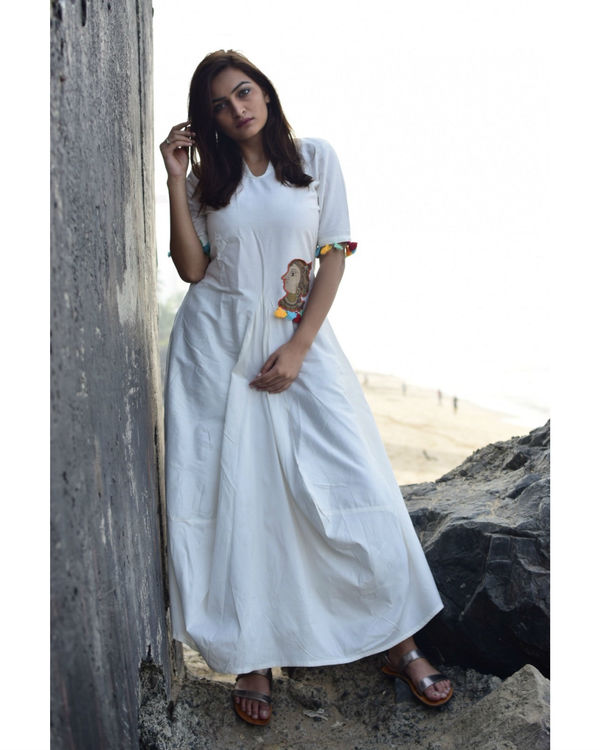 White Pocket Cowl Maxi 1