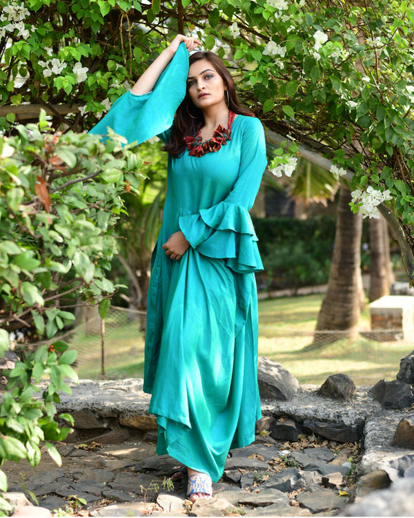 Green Layered Maxi Dress 2