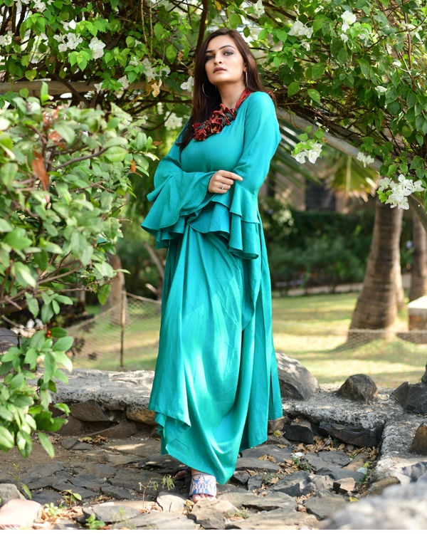 Green Layered Maxi Dress 1
