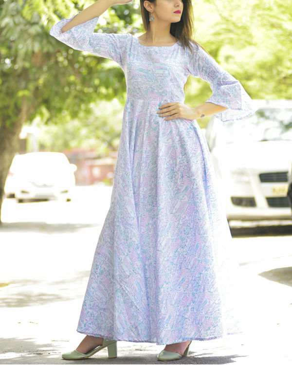 Pastel bell sleeve dress with dupatta 2