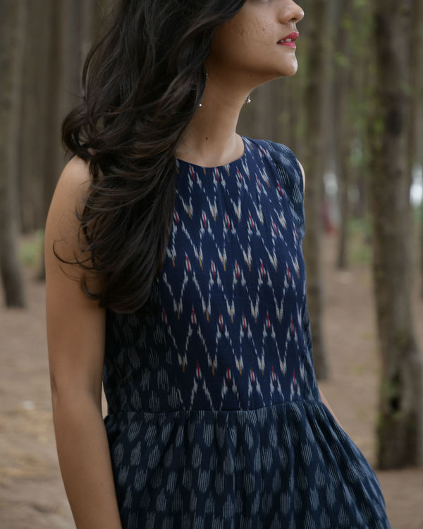 Blue and white handwoven ikat jumpsuit 1