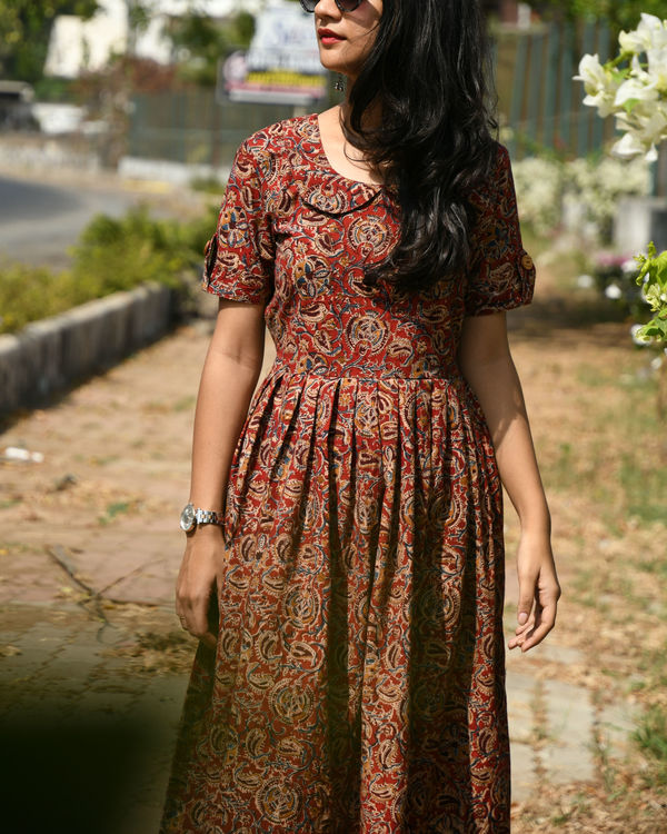 Maroon kalamkari dress 2