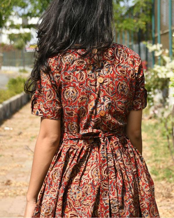 Maroon kalamkari dress 1