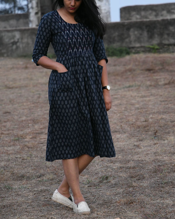 Blue and white ikat dress 1