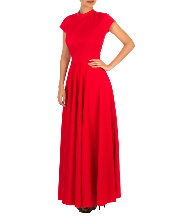 Red gown with straight fit 2