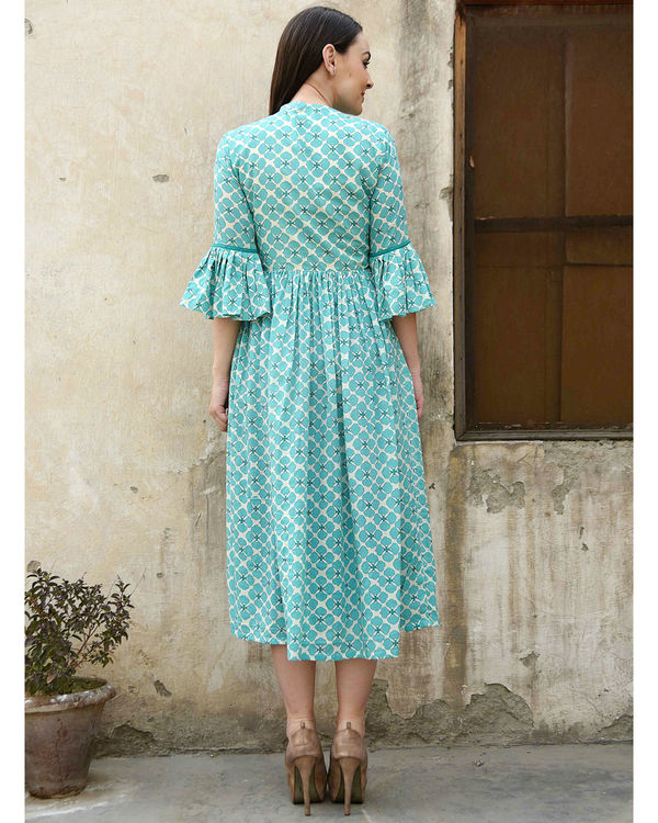Turquoise bell sleeves dress 2