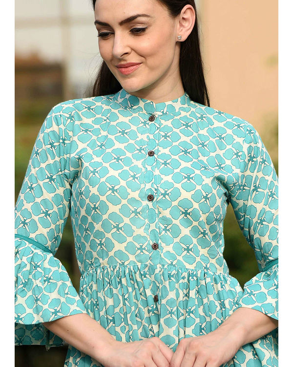 Turquoise bell sleeves dress 3