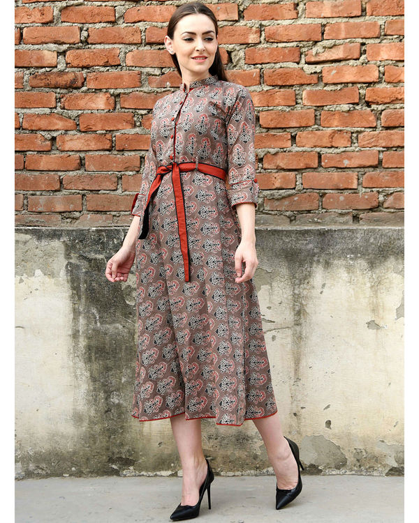 Coffee brown and red belt dress 3