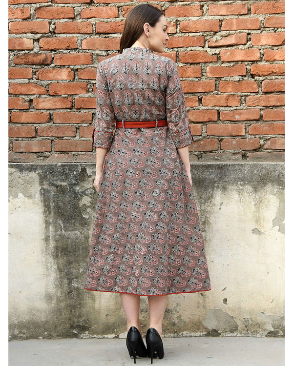 Coffee brown and red belt dress 2