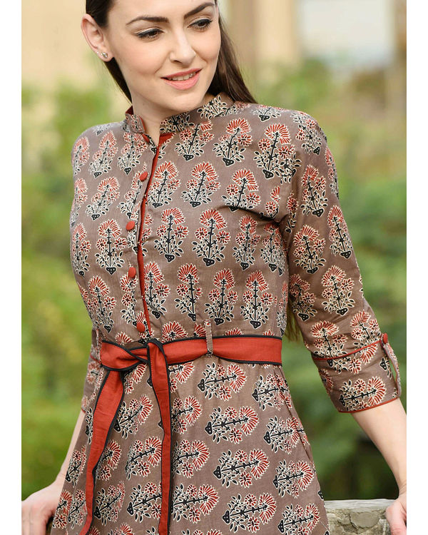 Coffee brown and red belt dress 1