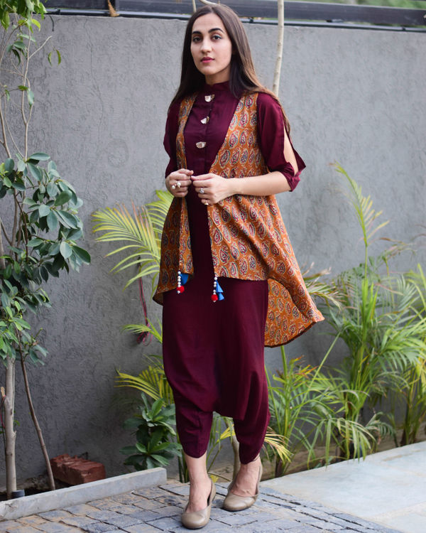 Wine dhoti jumpsuit with jacket 3