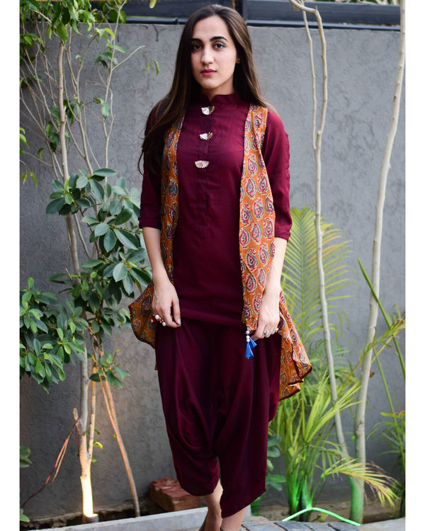 Wine dhoti jumpsuit with jacket 2