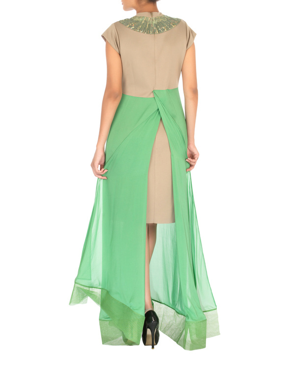 Two panelled beige and green gown 1
