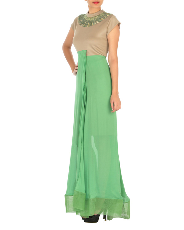 Two panelled beige and green gown 2