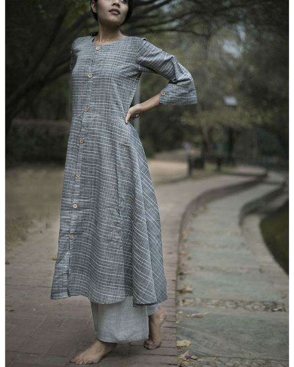 Grey flared kurta set with jacket 1
