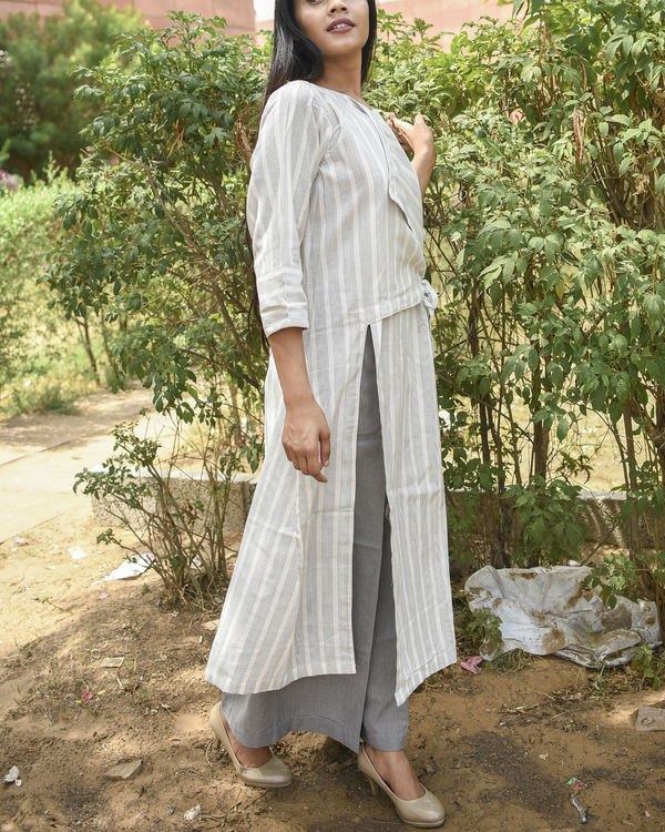 Off white side tie up dress 1