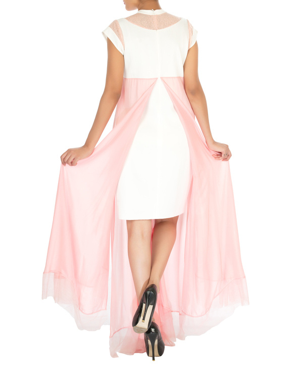 Four panelled white and pink gown 1