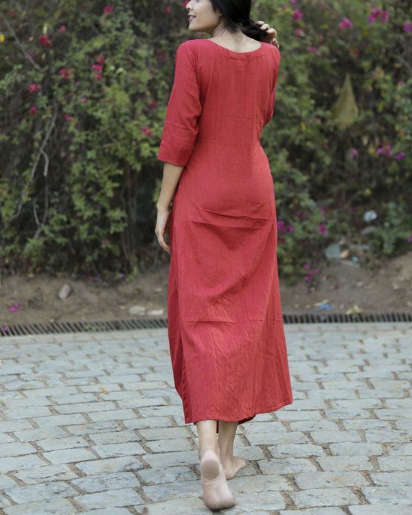Red side cowl dress 3