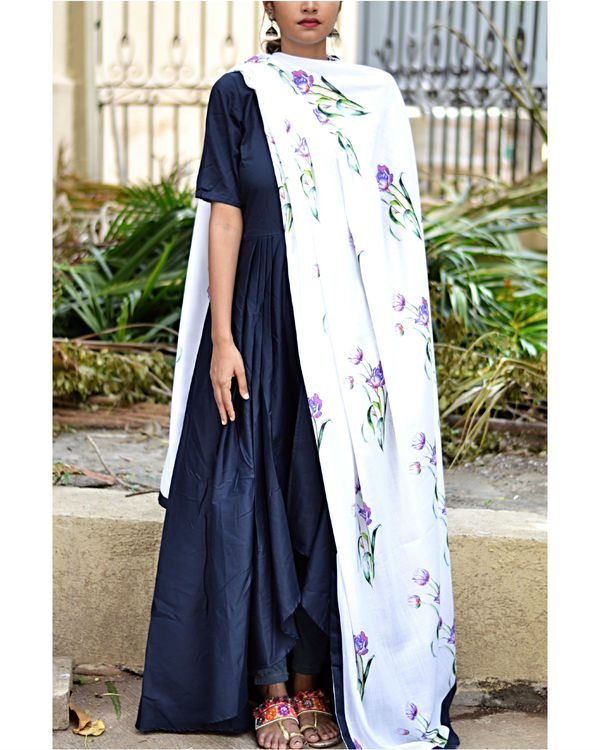 Navy high low dress with dupatta 2